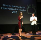 Daria and Bruno on the stage of the Global Nonviolent Film Festival (previously known as Brasov International Film Festival) in Brasov, Romania where Daria! magazine was widely distributed.