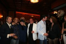 Bruno Pischiutta (center in white jacket) with guests attending the private party for the launch of the 2007 issue of Daria! magazine held at the Jockey Bar of the Fairmont Monte Carlo Hotel.