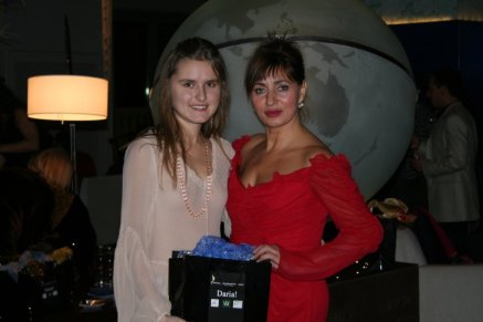 Daria Trifu (left) with guest in Monte Carlo attending a private party for Daria! magazine.